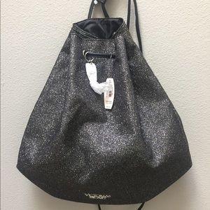 Victorias Secret Black Glitter Backpack Bag NEW